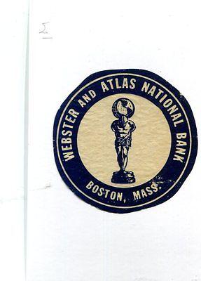 Vintage Label Webster   Atlas National Bank Boston Ma