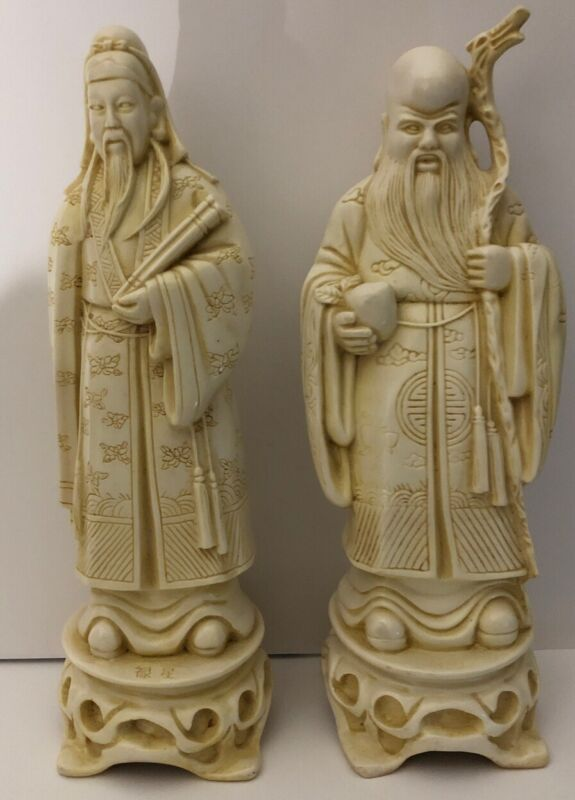 """2 Antique Chinese Old Wise Men Statues 12"""" 2LBs+ Each"""