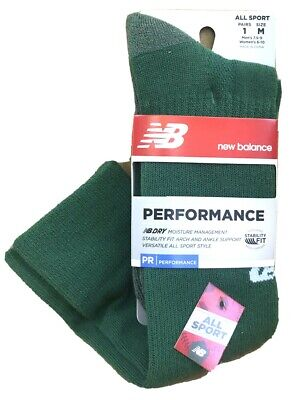 New NEW BALANCE Sport Socks Perfomance Mid-Calf GREEN men 7.5-9 Anti-Moisture New Balance Sport Socks