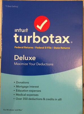 2016 Turbotax Deluxe Federal   State Turbo Tax New Cd In Sealed Retail Pkg