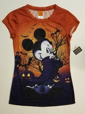 Ladies Juniors Disney Mickey Mouse Vampire Happy Halloween TShirt NWT SHIPS FAST
