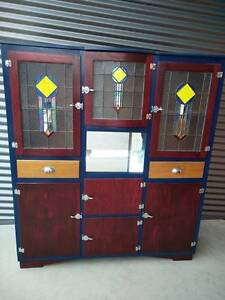 Vintage Bow Fronted Kitchen Dresser with Leadlight Oakden Port Adelaide Area Preview