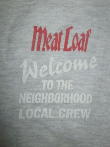 """1995 MEAT LOAF """"Welcome to the Neighborhood"""" LOCAL CREW Concert (XL) T-Shirt DMG"""