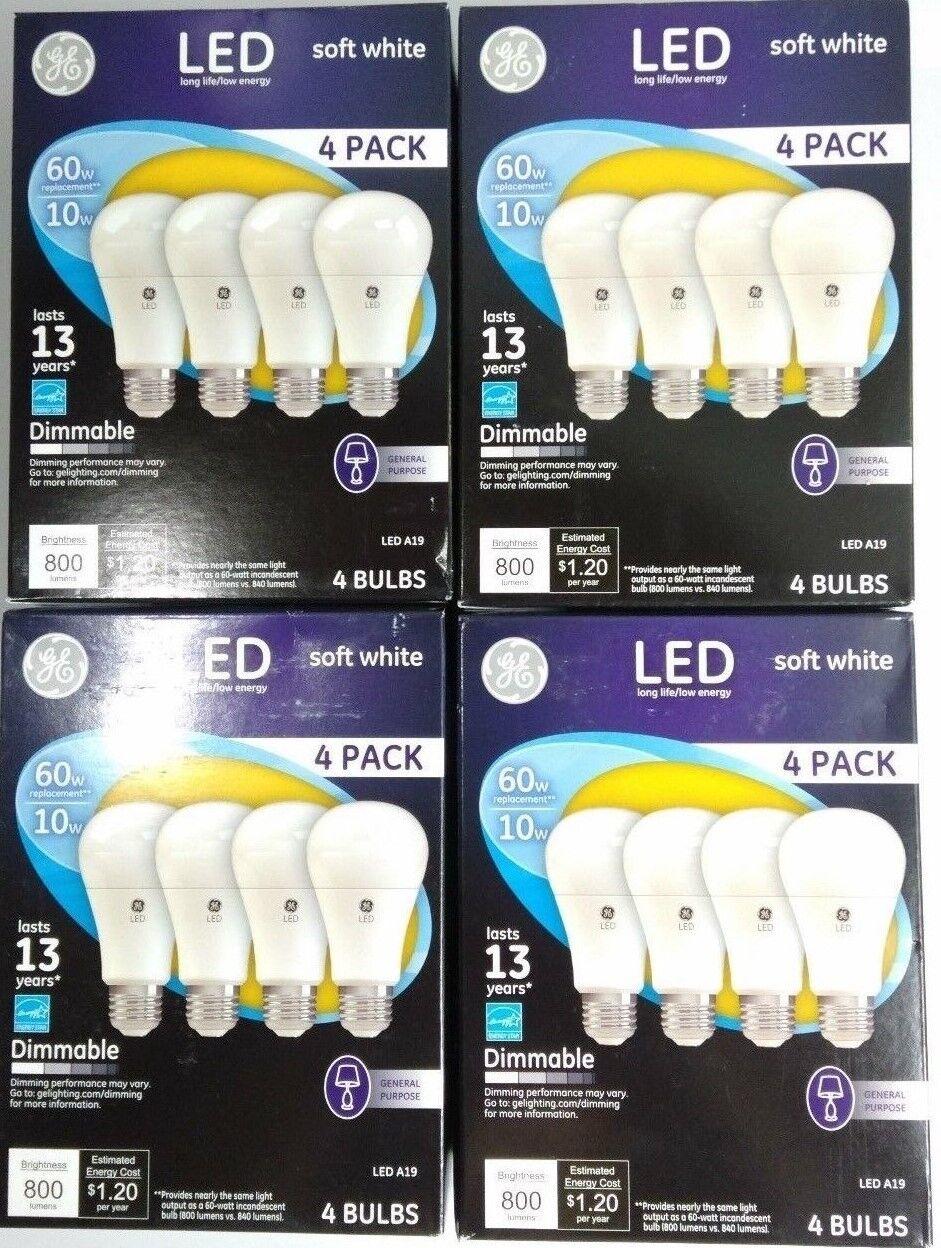 16 PACK GE LED 60W - 10 W Soft White 60 Watt Equ. A19 2700K
