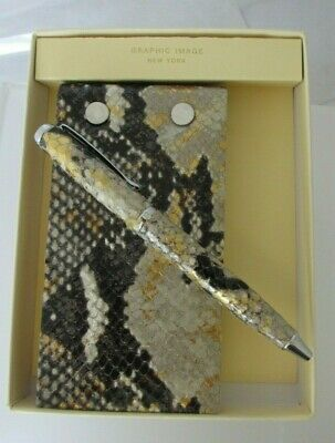 Flip Pad And Pen Set Gift Box Refillable 3x5 Graphic Image Leather Gold Python