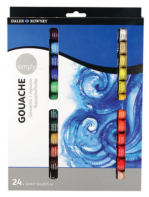 Daler Rowney Simply Gouache Paint Set - 24 x 12ml Tubes