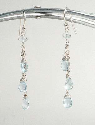 Dazzling Precious Blue Aquamarine Chain Drop Dangle Handmade Silver Earrings NEW