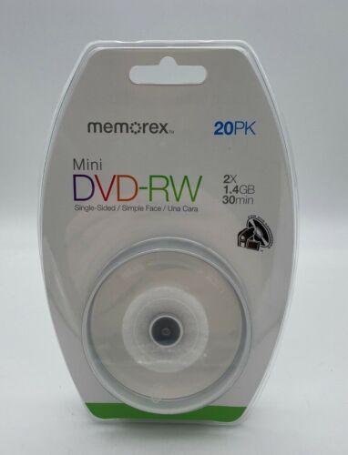 Memorex Mini DVD-RW 20 pack 2X 1.4GB or 30 mins recording brand new sealed!