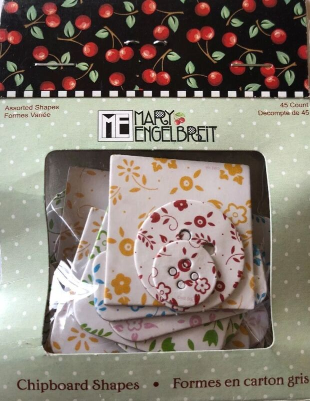 COLORFUL FLOWER MARY ENGELBREIT Chipboard Assort.SHAPES(45pc)Buttons •Garden•