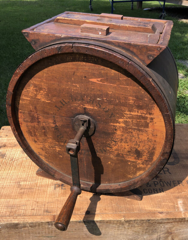 Antique Wooden Barrel Hand Crank Butter Churn NO. 3 J. H. Lamson W. Randolph VT.