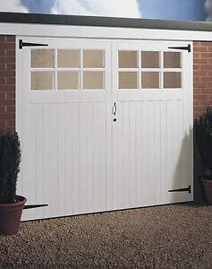 JELDWEN TIMBER WOODEN GARAGE DOOR PAIR GLAZED 2134MM X 1981MM (7'x6'6