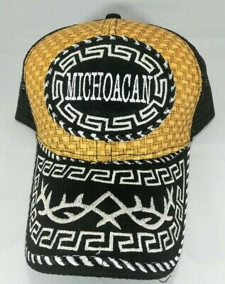 - Michoacan Embroidered Hat Straw Hat Baseball Cap Mesh Back Snap Back One Sized