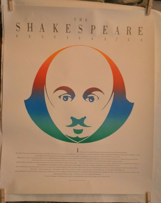Shakespeare Festival (Los Angeles) Poster W/Quoting Shakespeare By Bernard Levin