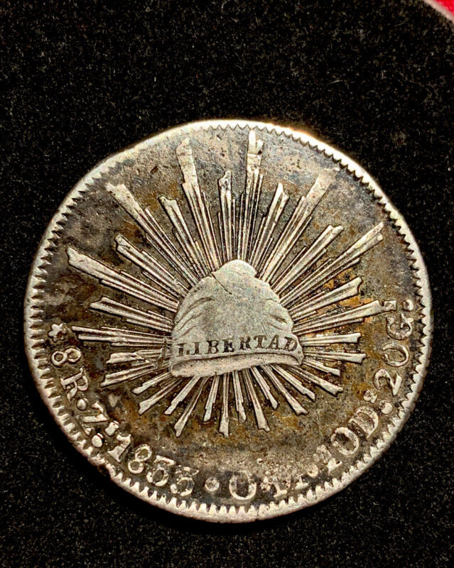 1833 Zs OM Mexico 8 Reales Zacatecas Mint Silver Coin