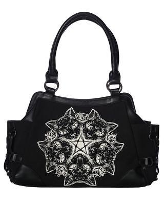 Banned Apparel Kitty Cat Punk Pentagram Moon Gothic Handbag Purse BG7245/BLK