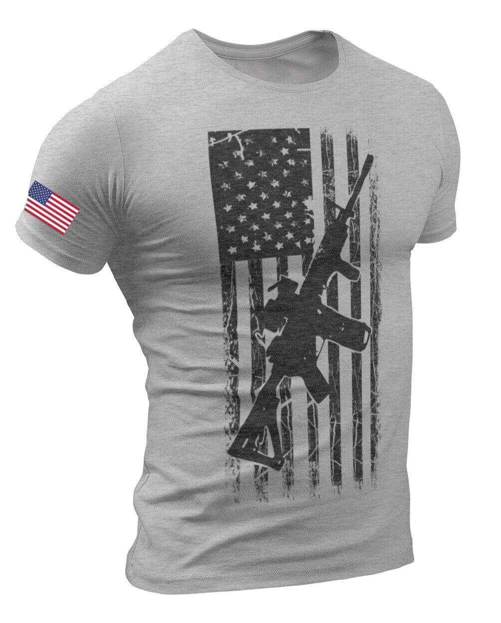 America Gun Flag Men's T Shirt Rifle Flag USA Warrior Military Style T-shirt