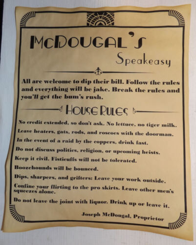 Personalized Speakeasy House Rules Poster 11 x 14, prohibition, bar, speak easy