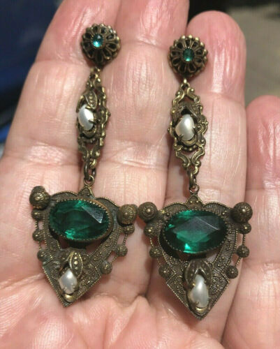 Long Ornate Czech Earrings with Faceted Green Glass & Pearls -  EXC Condition
