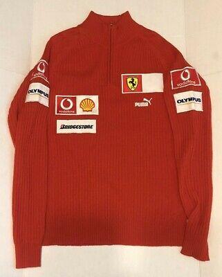 (Rare) Team Issue PUMA Ferrari Formula 1 F1 Red Sweater, Sewn on Patches, Sz Med