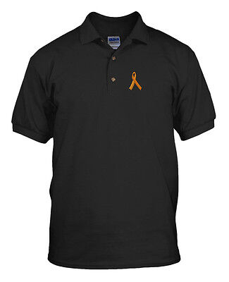 Ms Awareness Shirts (MS MULTIPLE SCLEROSIS AWARENESS RIBBON Embroidery Embroidered Golf Polo Shirt)
