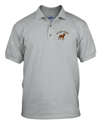 - MY BEST FRIEND PIT BULL Embroidery Embroidered Unisex Adult Golf Polo Shirt