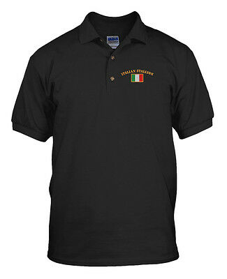 ITALIAN STALLION FLAG Embroidery Embroidered Golf Polo Shirt  ()