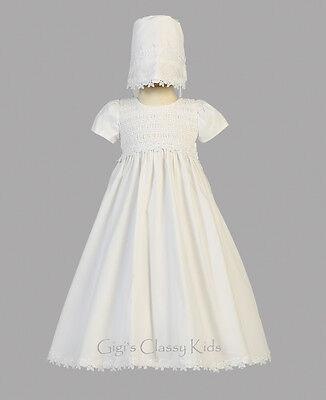 Baby Girls White Cotton Smocked Dress Gown Christening Ba...