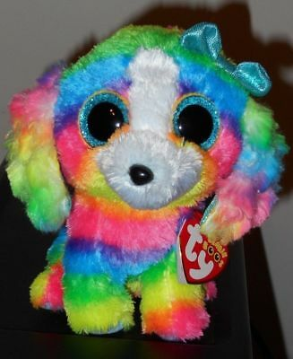 Ty Beanie Boos ~ LOLA the 6 Inch Multi Color Dog - Claire's Exclusive ~ 2018 NEW