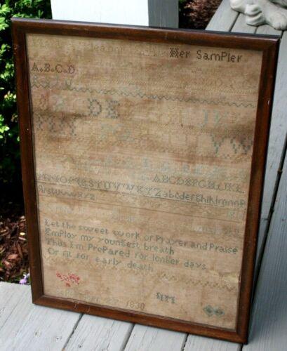 Early 19th century Childs Sampler Martha Eleanor Little 1830 Prayer