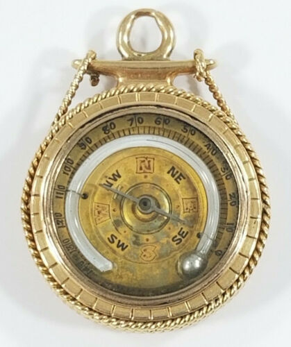Antique 14K Gold Ships COMPASS THERMOMETER WAX SEAL Fob Charm ~Rare~