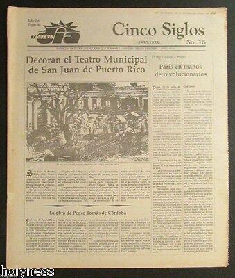 El Nuevo Dia    Vintage Newspaper   Cinco Siglos De Historia   15   Puerto Rico