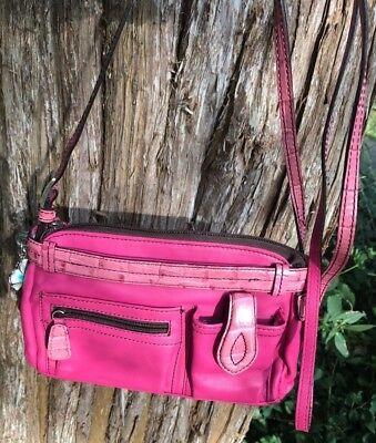 (BRIGHTON PINK SM. Enameled FLOWER PURSE Wallet ORGANIZER CROSSBODY Shoulder BAG )