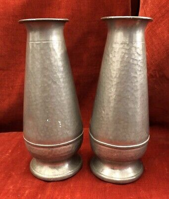 Vintage Hand Hammered Pewter Vases X2, Abbey Pewter