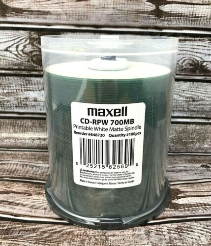 MAXELL 648720 100PK CDR PRINTABLE WHITE MATTE NEW UNSEALED Fast Free Shipping!