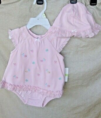 LITTLE ME 100% COTTON Light Pink Mini Flower Bodysuit with Hat GIRL  3 MO  NWT