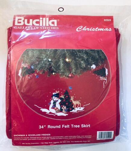 Bucilla Sequined Felt Christmas Tree Skirt Kit 32522 Snowman