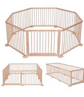 Natural colour wooden 8 sided playpen