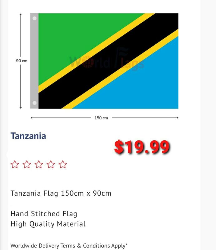 Tanzania flag, Large: 900 MM BY 1500 MM free shipping Aus wide great quality.
