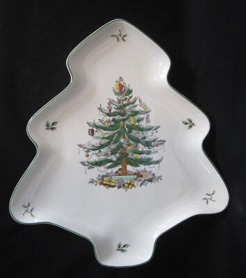 Spode S3324 A7Christmas Tree Shaped Cookie Appetizer Serving Plate Tray 14