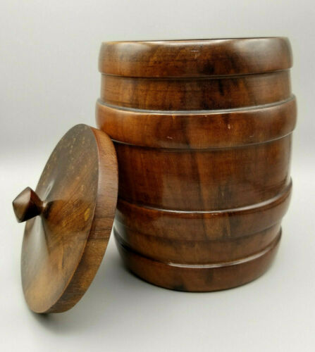 Antique Tobacco or Cigar Humidor Hand Turned Lignum Vitae  SEE VIDEO