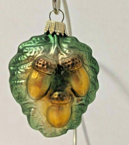 Acorns On Leaf Vtg Blown Glass Ornament Germany Krebs