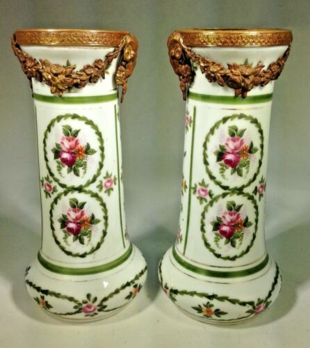 Antique Pair of Versailles Hand Painted Porcelain & Ram Heads Dore Bronze Vases