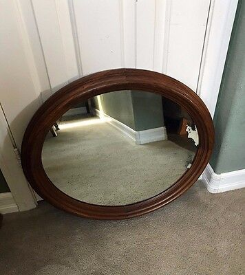 ANTIQUE VICTORIAN ERA OVAL MIRROR WALL HANGING WOOD FRAME large