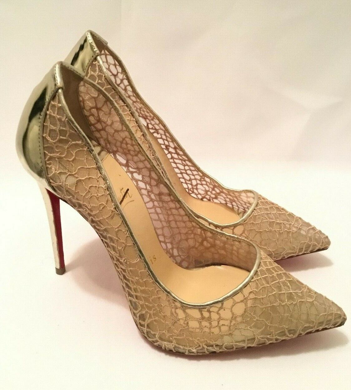 Christian Louboutin Pigalle Follies Gold Resille 100 Fishnet Size 37