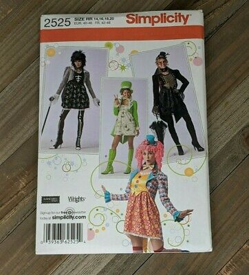 Simplicity Sewing Pattern #2525 : Steampunk Gothic Clown Cosplay Dress Sz 14-20