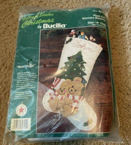 Bucilla Felt Christmas Personalized Stitchery Bear Hugs Stocking Kit 32791 NIP