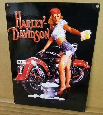 Harley Decor (Vintage Harley Davidson pinup girl reproduction steel sign biker)