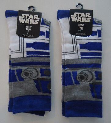 Lot Of 2 Pair Star Wars R2 D2 R2d2 Size 10 13 Crew Socks Episode Viii Last Jedi