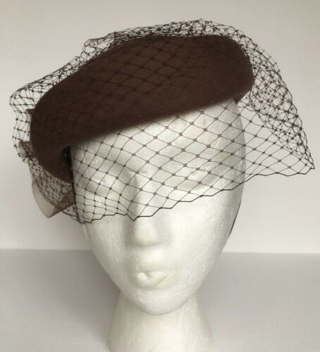 Vintage Deborah New York Brown Wool Fascinator Church Wedding Derby Hat_MINT!