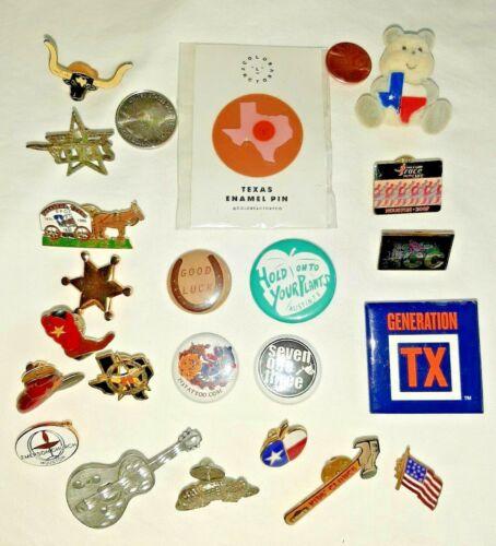 22 Piece TEXAS Pin & Brooch Lot - HOUSTON, AUSTIN, RODEO, LONGHORN, ARMADILLO